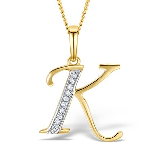 9K Gold Diamond Initial 'K' Necklace 0.05ct
