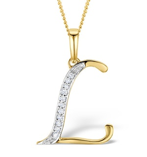9K Gold Diamond Initial 'L' Necklace 0.05ct