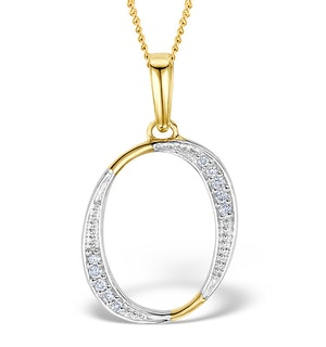 9K Gold Diamond Initial 'O' Necklace 0.05ct