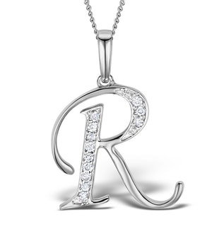 9K White Gold Diamond Initial 'R' Necklace 0.05ct