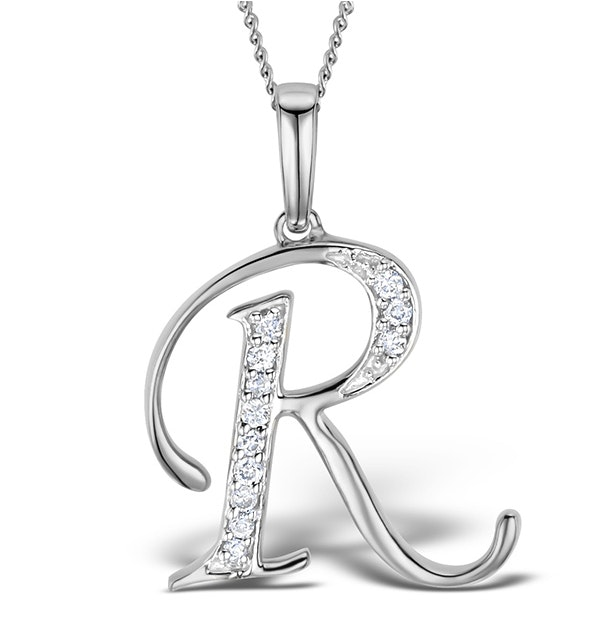 9K White Gold Diamond Initial 'R' Necklace 0.05ct - image 1