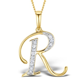 9K Gold Diamond Initial 'R' Necklace 0.05ct