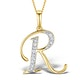 9K Gold Diamond Initial 'R' Necklace 0.05ct - image 1
