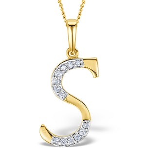 9K Gold Diamond Initial 'S' Necklace 0.05ct