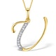 9K Gold Diamond Initial 'U' Necklace 0.05ct - image 1