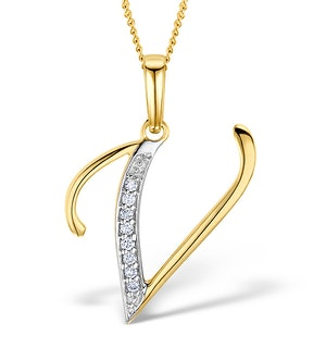 9K Gold Diamond Initial 'V' Necklace 0.05ct