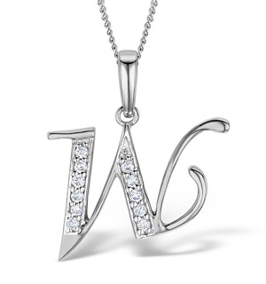 9K White Gold Diamond Initial 'W' Necklace 0.05ct