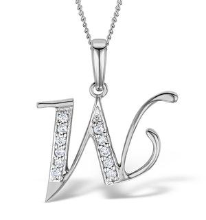 925 Silver Lab Diamond Initial 'W' Necklace 0.05ct