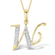 9K Gold Diamond Initial 'W' Necklace 0.05ct - image 1