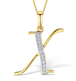 9K Gold Diamond Initial 'X' Necklace 0.05ct