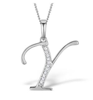 925 Silver Lab Diamond Initial 'Y' Necklace 0.05ct
