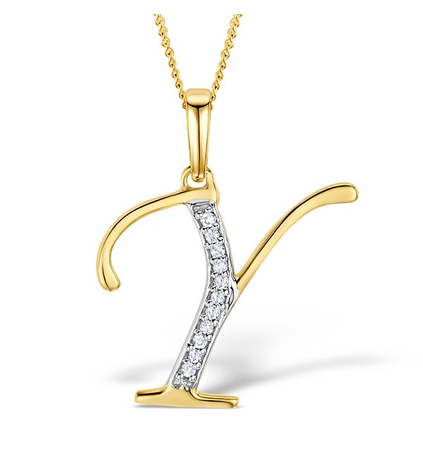 9K Gold Diamond Initial 'Y' Necklace 0.05ct - image 1