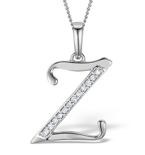 9K White Gold Diamond Initial 'Z' Necklace 0.05ct