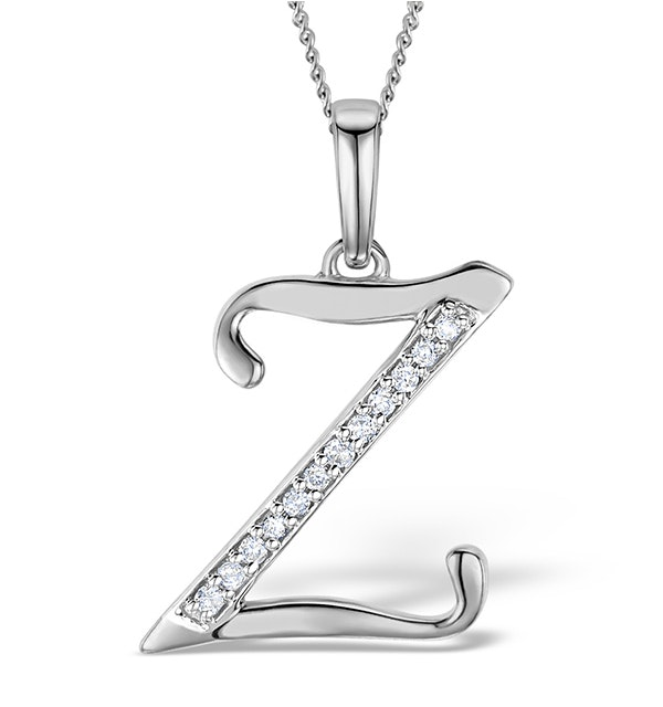 9K White Gold Diamond Initial 'Z' Necklace 0.05ct - image 1
