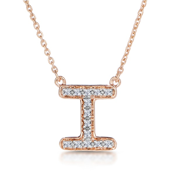 Initial 'I' Necklace Diamond Encrusted Pave Set in 9K Rose Gold - image 1
