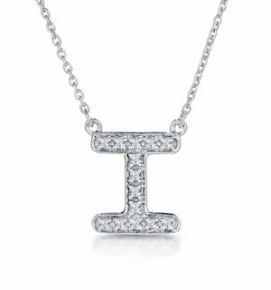 Initial 'I' Necklace Diamond Encrusted Pave Set in 9K White Gold
