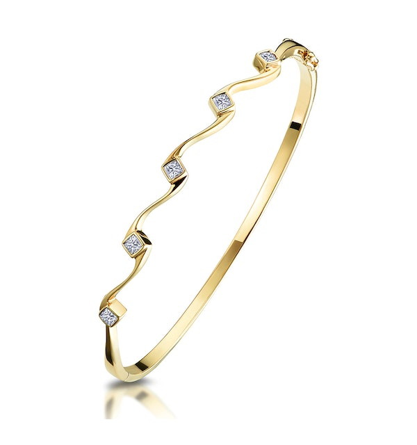 1/4 Carat Five Stone Diamond Studded Bangle in 9K Gold - image 1