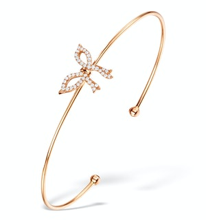 Vivara Collection 0.20ct Diamond and 9K Rose Gold Bow Bangle L3335