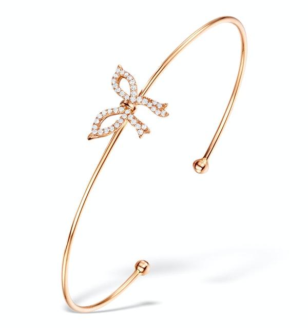 Vivara Collection 0.20ct Diamond and 9K Rose Gold Bow Bangle L3335 - image 1