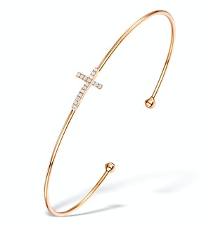 Vivara Collection 0.08ct Diamond and 9K Rose Gold Cross Bangle L3337