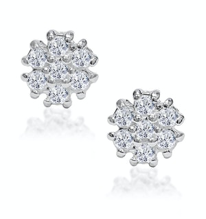 Tesoro Flower White Topaz Cluster Earrings