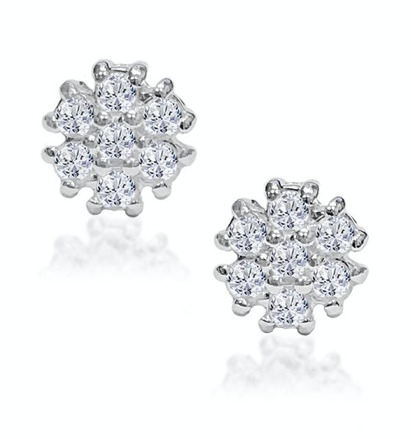 Tesoro Flower White Topaz Cluster Earrings - image 1