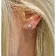 Tesoro Flower White Topaz Cluster Earrings - image 2
