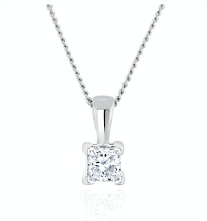 Princess Cut Lab Diamond Pendant Necklace 0.15CT in 9K White Gold