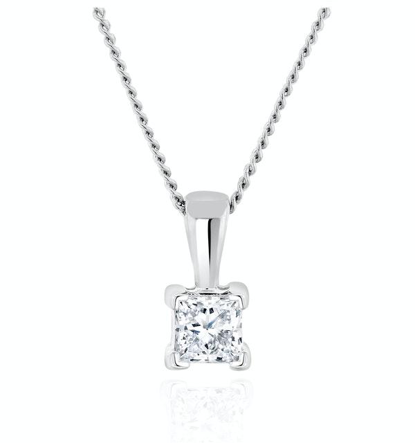 Princess Cut Lab Diamond Pendant Necklace 0.15CT in 9K White Gold - image 1