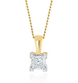 0.25ct Lab Diamond Princess Cut Solitaire Necklace in 9K Gold