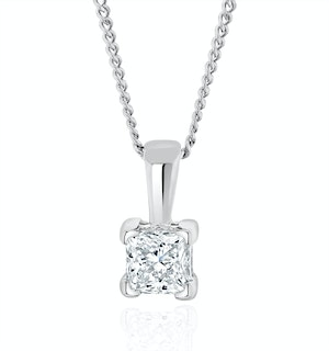 0.25ct Lab Diamond Princess Cut Solitaire Necklace in 9K White Gold