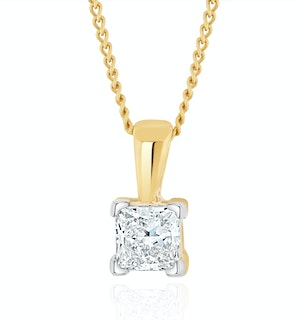 0.33ct Lab Diamond Princess Cut Solitaire Necklace in 9K Gold