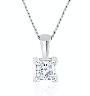 0.33ct Lab Diamond Princess Cut Solitaire Necklace in 9K White Gold