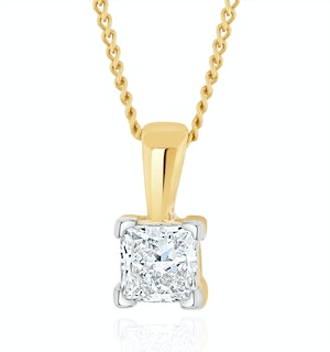 0.50ct Lab Diamond Princess Cut Solitaire Necklace in 9K Gold