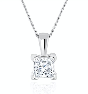 0.50ct Lab Diamond Princess Cut Solitaire Necklace in 9K White Gold