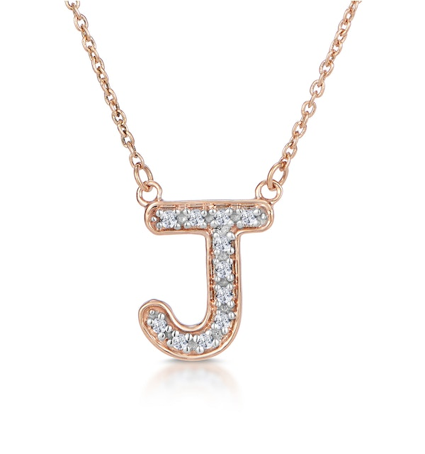 Initial 'J' Necklace Diamond Encrusted Pave Set in 9K Rose Gold - image 1