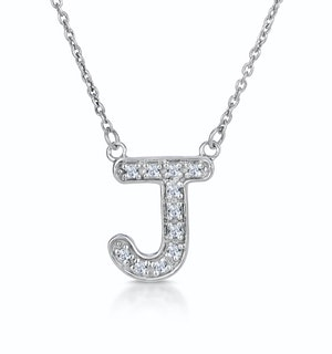 Initial 'J' Necklace Diamond Encrusted Pave Set in 9K White Gold