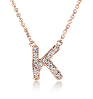 Initial 'K' Necklace Diamond Encrusted Pave Set in 9K Rose Gold