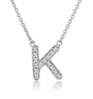 Initial 'K' Necklace Diamond Encrusted Pave Set in 9K White Gold