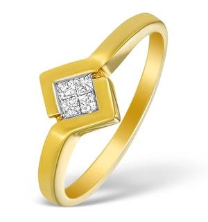 18K Gold Princess Diamond Twist Ring - N3212