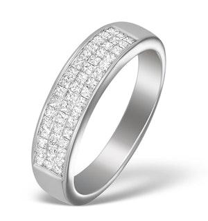 18K White Gold Princess Diamond Half Eternity Ring - N3327