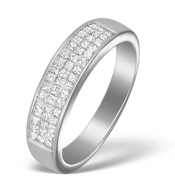 18K White Gold Princess Diamond Half Eternity Ring - N3327 - image 1
