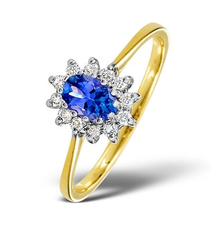 Tanzanite 6 x 4mm And Diamond 18K Gold Ring  FET33-V
