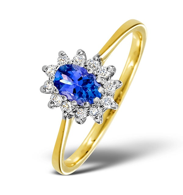 Tanzanite 6 x 4mm And Diamond 18K Gold Ring  FET33-V - image 1