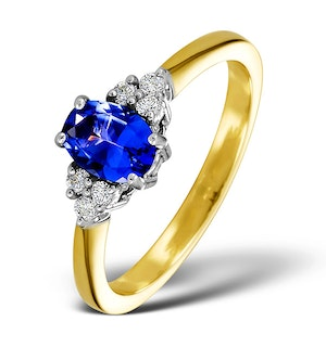 Tanzanite 7 x 5mm And Diamond 18K Gold Ring  N3493