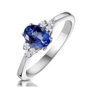 Tanzanite 7 x 5mm And Diamond 18K White Gold Ring  N3493Y