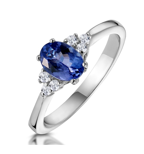 Tanzanite 7 x 5mm And Diamond 18K White Gold Ring  N3493Y - image 1