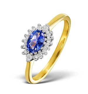 Tanzanite 6 x 4mm And Diamond 18K Gold Ring  FET21-V