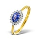 Tanzanite 6 x 4mm And Diamond 18K Gold Ring  FET21-V - image 1