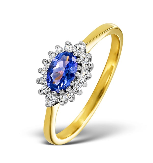 Tanzanite 6 x 4mm And Diamond 18K Gold Ring  FET21-V - image 1